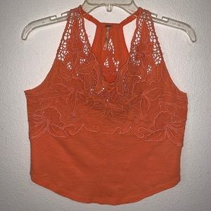 Free People Floral Crocheted Lace Tank Top Orange